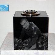 Granite memorial flower vase with laser etched photos