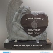 Bespoke angel heart granite memorial with laser etched images