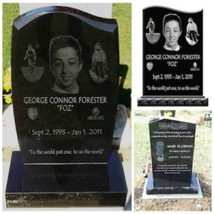Bespoke memorials uk, unique laser etched granite, headstones with photos