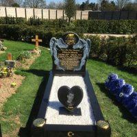 Black granite kerb memorial