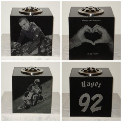 Granite memorial with laser engraved images